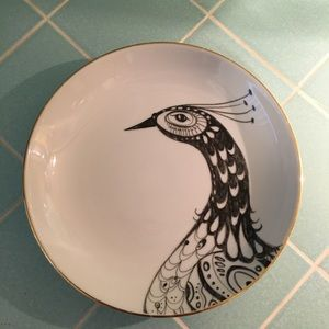 Anthropologie Gold Trimmed Peacock Coupe Bowl